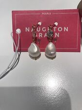 Genuine 10.55mm White Drop Pearl Dangle Earrings Wedding CZ Cultured Freshwater