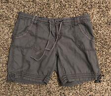 OP Ocean Pacific Womens Shorts Sz 13 Gray Casual Cotton Drawstring Juniors-FLAW