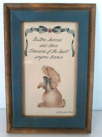 Primitive Vtg Folk Art Rabbit Bunny Framed Art Glass Wall Picture Shabby Country