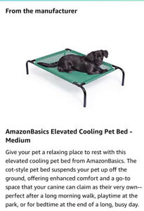 Raised Cooling Elevated Pet Bed Breathable Sleep medium Green