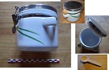 Pot hermétique faïence blanc décor feuille comme neuf, fin des années 1990