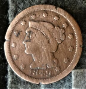 1849 US Braided Hair Liberty Head Large Cent-Early Copper Penny(1839-57)