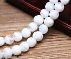 10pcs 12mm Round Lampwork Glass Jewelry Charms Loose Spacer Stripes Beads White