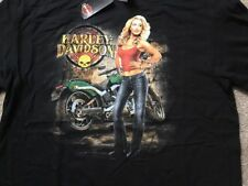 Harley Davidson Blonde Pin Up Girl Black Shirt Nwt Men's XL