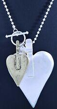 """Ball Chain Matt Silver and Brass Heart Pendant Long Lagenlook Necklace 46.5"""""""