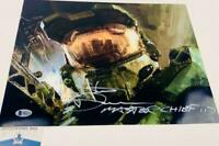 Steve Downes signed Master Chief 11X14 Metallic photo HALO BAS M62121