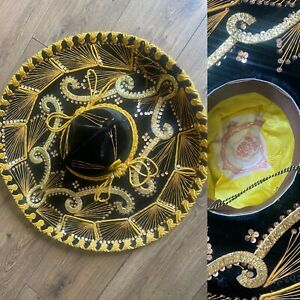 Vtg 1950s Black Velvet Gold Wire Work Auth Mexican Pigale Mariachi Sombrero Hat
