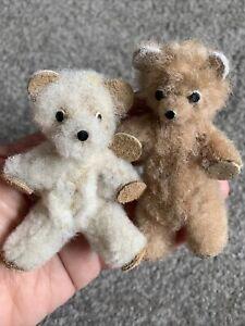 "Lot 2 RARE Antique/Vintage miniature Bear Duo Poland  3"" Fuzzy Fur Tags EUC!"