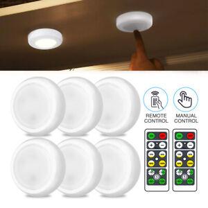6PCS Wireless LED Puck Lights Closet Under Cabinet Lighting W/ Remote Control