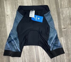 Nice Win  Women's Medium Black Blue and Gray Padded Bike Shorts NWT