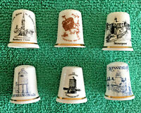 Set Of 6 English Towns Bone China Thimbles, Collectable England Places, S2