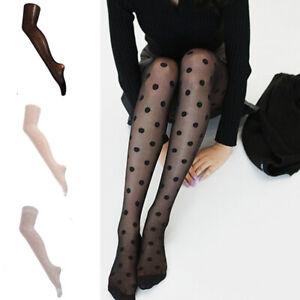 Women Stockings Lace Dots Pantyhose Socks Hosiery Tight Elastic Stockings Black