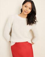 NWT Women's Ann Taylor Winter White Textured 3/4 Puff Sleeve Sweater Sz XL