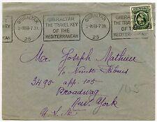 GIBRALTAR 1939 UNSEALED MAIL PRINTED MATTER RATE 1/2d to USA SLOGAN MACHINE PMK