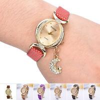 Women's Bracelet Bangle Leather Crystal Dial Quartz Analog Wrist Watch 27cm Gift