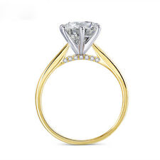 14K 585 Two Tone Gold Moissanite Engagement Ring 2ct 8mm F Color with Accent