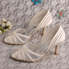 High Heel (3-4.5 in.) Peep Toes Satin Bridal Shoes