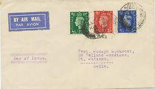 2402 1937 King George VI 1/2, 1, 2 1/2 d VF FDC GLASGOW 30 FLOWN COVER to MALTA