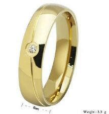 MENS 18K GOLD PLATED TITANIUM STAINLESS STEEL CRYSTAL WEDDING BAND RING Q1/2 T U