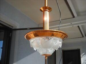 Art Deko Deckenlampe Frankreich Kupfer Glas Eisglas Ezan Style