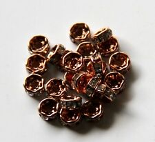 50pcs 5mm Rhinestone Crystal Rondelle Spacers - Rose Gold