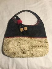 New With Tags Sonoma large black beige red woven beach shoulder tote bag purse