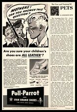 1942 Poll Parrot & Star Brand Leather Shoes For Boys And Girls Vintage Print Ad
