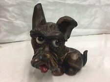 Antique Oswald Rolling Eye Dog Clock Carved Wood