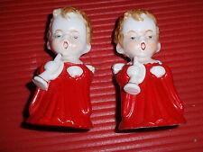 2 Vintage Singing Angels Ceramic Porcelain Candle Holders Japan