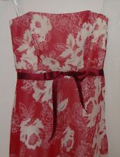 STRAPLESS PARTY COCKTAIL DRESS CORAL/WHITE FLORAL SIZE 14 GREAT CONDITION