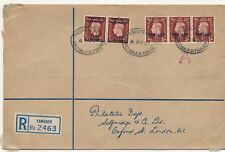 Tangier cover Morocco agencies registered to Selfridges philatelic 1937 HPS