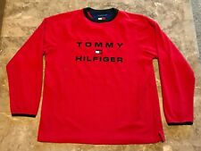 Vintage 90s Tommy Hilfiger Spell-Out Long Sleeve Fleece Shirt Adult Size Large