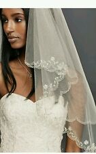 David's Bridal Fingertip Length 2-Tier Veil w/ Scallop Edge, 689, Ivory ($189)