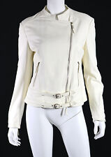 FRATELLI ROSSETTI Bone Off-White Leather Zip Motorcycle Jacket 46