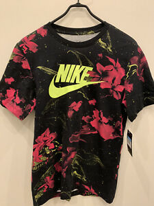 Nike Pink Limeade Floral T-Shirt Mens Size M Ck0160-010 NWT