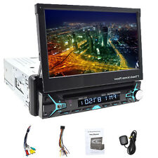 "Single 1 DIN 7"" HD Flip Up GPS NAV Car Stereo CD DVD MP3 Player USB Radio AM/FM"