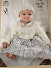 KING COLE ~  Baby Pattern ~ DK ~ Cropped Cardigans/Top & Hat ~ 12-22in ~ 31-56cm
