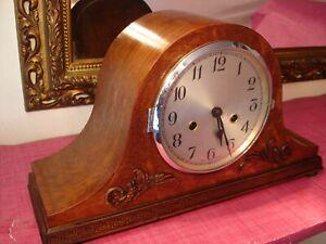 Vintage English Oak Cased Striking Mantel clock, superb.