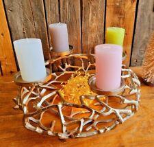 Edler Adventskranz 40cm Alu Metall Kerzenleuchter Ständer Weihnachten Deko Tisch