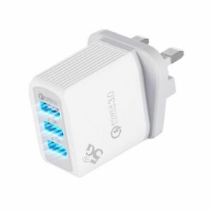 3 Multi-Port Fast Quick Charge 3.0 USB Hub Mains Wall Charger Adapter UK Plug 3A