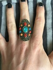 metal with multicoloured gems Bohemian style ring bronze