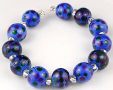 HANDMADE LAMPWORK GLASS BEADS Blue Purple Green Polka Dot Loose Jewelry Craft