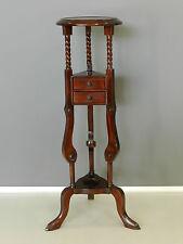 Tavolino alzatina porta vaso comodino con tre cassetti in legno di mogano
