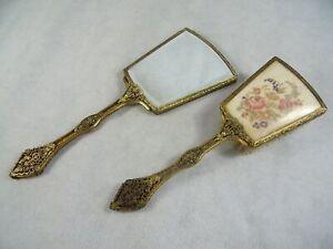 Vintage 1950's Dressing Table Vanity Mirror Hair Brush Set Ornate Gilt Metal