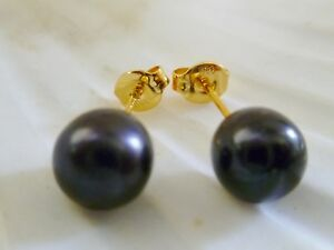 8mm BLACK FRESHWATER PEARL STUD EARRINGS  14KT Yellow Gold Filled or 925 Silver