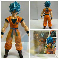 Anime Dragon Ball Z Super Saiyan Son Goku Blue Hair PVC Figure Toy 16cm New