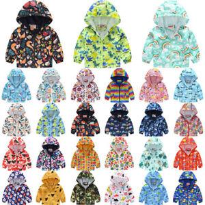 Kids Boy Girl Waterproof Windproof Hooded Rain Coat Jacket Children Antumn Cloth