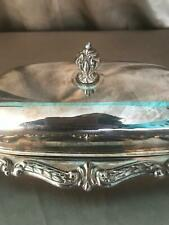 Vintage silver-plate ? covered butter dish tray ornate finial scrolled design