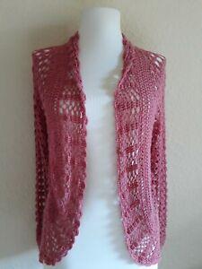 XOXO Collection M/L Mauve Pink Crochet LS Stretchy Cardigan Shrug