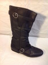 Office Girl Black Mid Calf Leather Boots Size 37